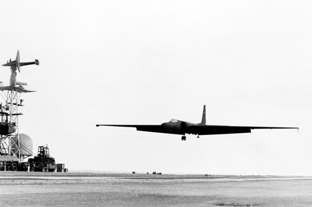 A left front view of a U-2 reconnaissance aircraft as it approaches for landing on the flight deck of the aircraft carrier USS AMERICA (CV 66)