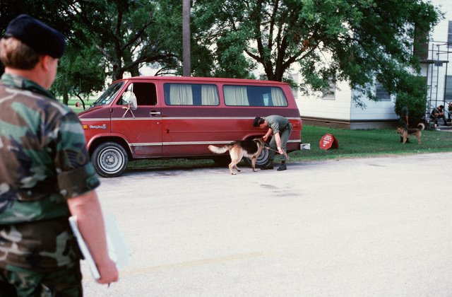 A patrol dog and its handler search a van for drugs or explosives during a training exercise. The dog is being trained by the 3282nd Technical Training Squadron of the Air Force Security Police Academy, which trains patrol, drug detection, and explosives detection dogs for all the military services and other government agencies