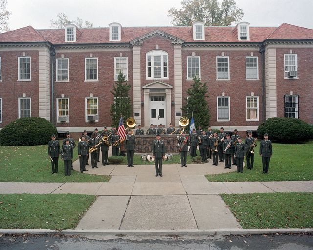 Members of the 113th Army Band stand for a group picture at Headquarters, US Army Armor Center