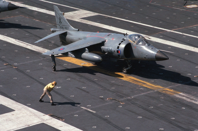 A plane director signals instructions to a British Royal Navy FRS.Mk 1 Sea Harrier aircraft as it prepares to take off from the nuclear-powered aircraft carrier USS DWIGHT D. EISENHOWER (CVN 69)