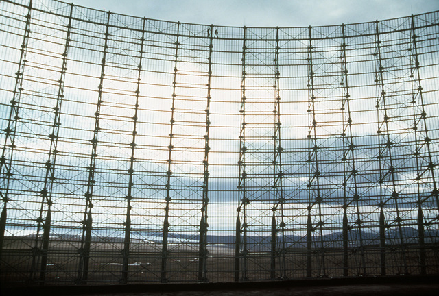 One of four AN/EPS-50 early warning radar antennas located at the airbase