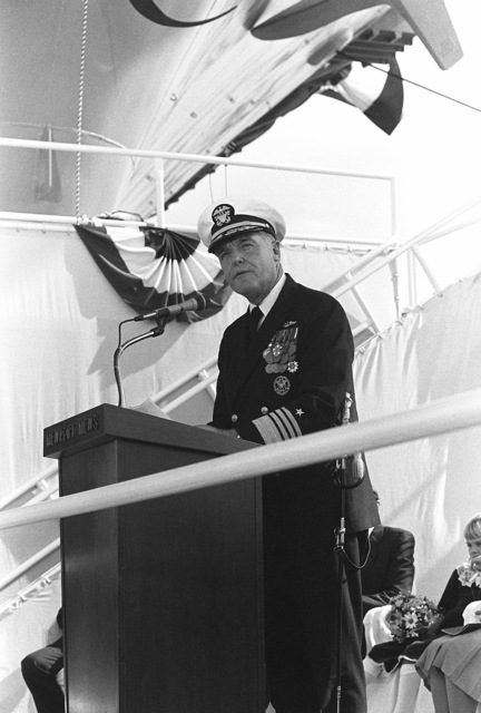 Admiral James D. Watkins, CHIEF of Naval Operations, addresses guests attending the launching ceremony for the nuclear-powered aircraft carrier USS THEODORE ROOSEVELT (CVN 71)