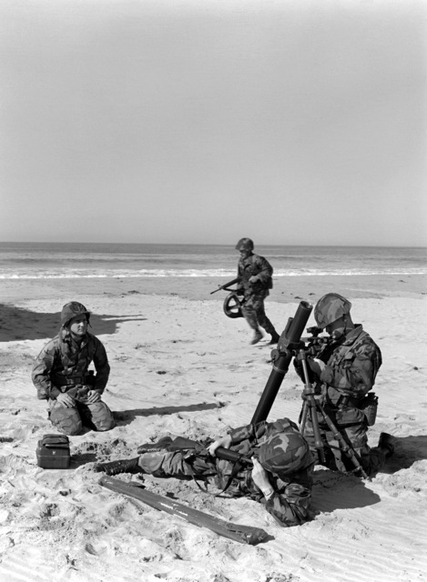 Members of Weapons Platoon, Co. C, 1ST Bn., 5th Marines, set up an M-29 81mm mortar during an amphibious assault training exercise at Delmar Beach