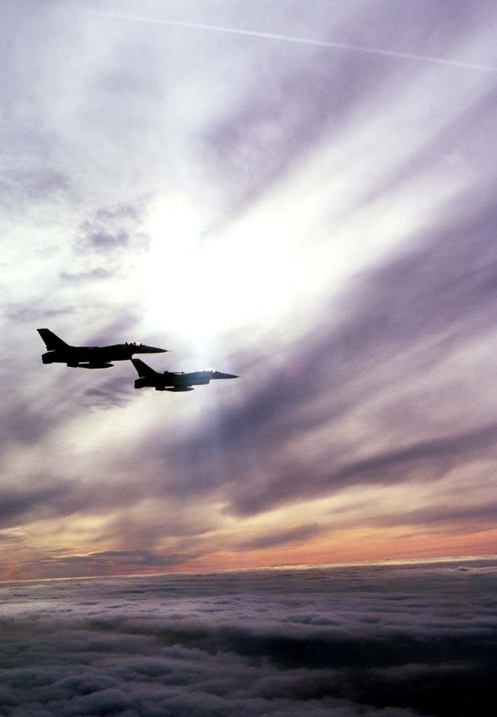 Air to air right side view of two United States Air Force Europe (USAFE) F-16 Fighting Falcons assigned to the 50th Tactical Fighter Wing, Hahn Air Base, Germany. Exact Date Shot Unknown