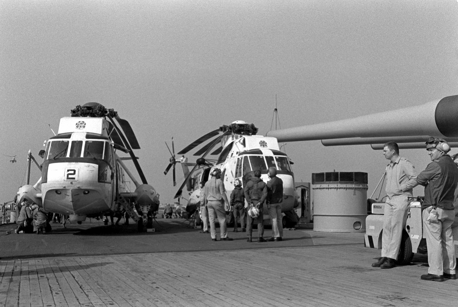 Two SH-3H Sea King helicopters from Helicopter Anti-Submarine