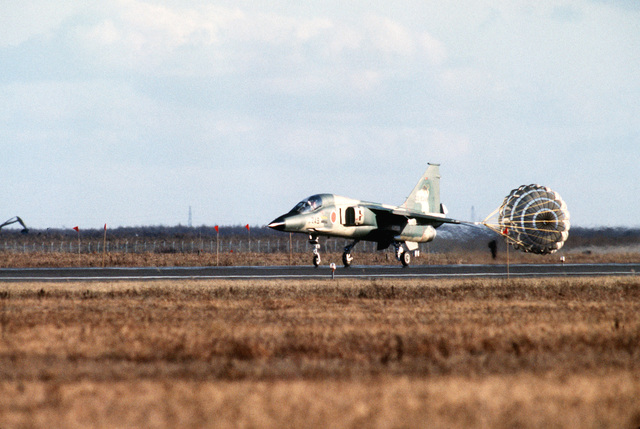 A Japanese Air Self Defense Force F-1 aircraft deploys a drogue chute while landing during Exercise COPE NORTH 85-1