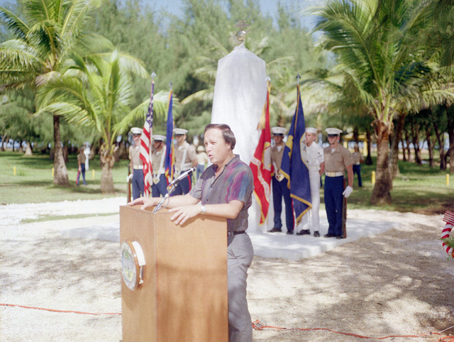 Mr. Carl T. C. Gutierrez, speaker of the 17th Guam Legislature, speaks at the Congressional Medal of Honor Monument dedication ceremony. The monument was erected to honor four Marines for heroism during World War II. They are Captain Louis Wilson, Jr., Private First Class (PFC) Leonard Mason, PFC Luther Skaggs and PFC Frank Witek