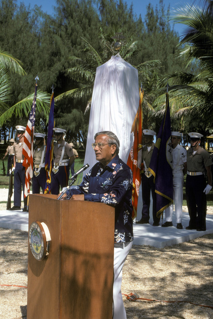 The Honorable Ricardo J. Bordallo, Governor of Guam, speaks at the Congressional Medal of Honor Monument dedication ceremony. The monument was erected to honor four Marines for their heroism during World War II. They are Captain Louis Wilson Jr., Private First Class (PFC) Leonard Mason, PFC Luther Skaggs and PFC Frank Witek