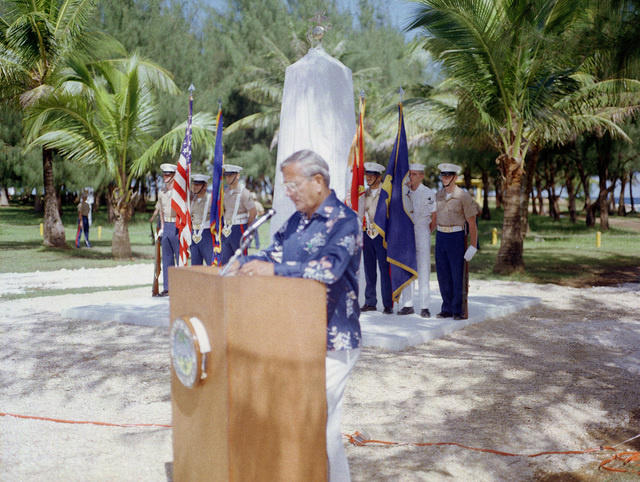 The honorable Ricardo J. Bordallo, governor of Guam, speaks at the Congressional Medal of Honor Monument dedication ceremony. The monument was erected to honor four Marines for heroism during World War II. They are Captain Louis Wilson, Jr., Private First Class (PFC) Leonard Mason, PFC Luther Skaggs and PFC Frank Witek