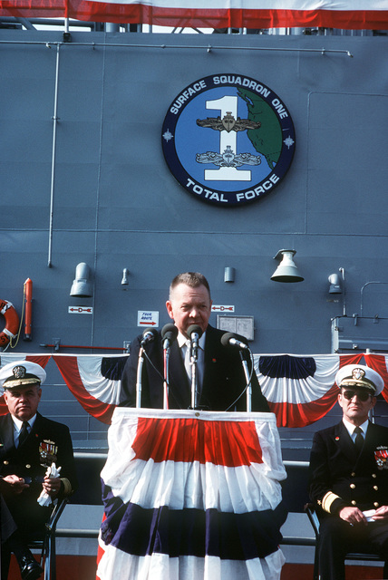 Len Thorell, Todd Pacific Shipyard Corp., speaks during the commissioning of the guided missile frigate USS GARY (FFG 51). Seated behind him are, left to right, Vice Admiral Harry C. Schrader Jr., commander, Naval Surface Force, US Pacific Fleet, and Rear Admiral William A. Walsh, Director Surface Warfare Division, Office of the CHIEF of Naval Operations
