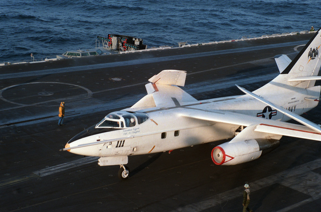A VA-3B Skywarrior aircraft from Fleet Air Reconnaissance Squadron 1 (VQ-1) taxis on the flight deck prior to launch from the nuclear-powered aircraft carrier USS CARL VINSON (CVN 70). The aircraft is assigned to the commander of the Seventh Fleet