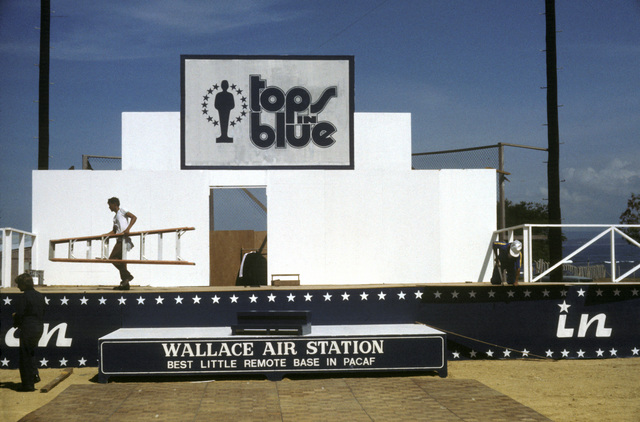 A view of the stage used by members of the Tops in Blue cast. The group includes Air Force personnel who entertain Air Force members and their families around the world