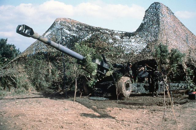 An overall view of a 155 mm Howitzer position covered in camouflage netting during a live fire exercise at Camp Hansen