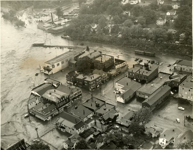 Aerial View of a Flooded Seymour, Connecticut