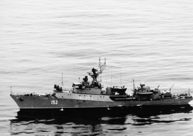 A port beam view of the Soviet Grisha III class anti-submarine frigate