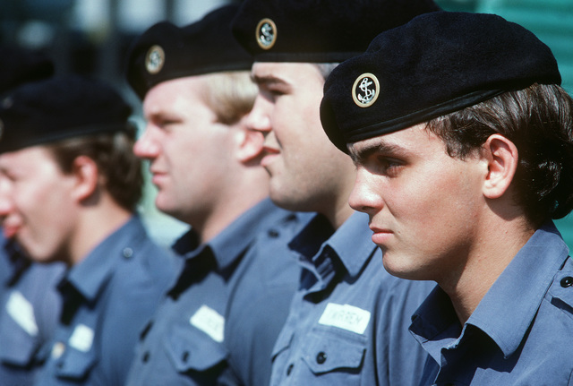Foreign sailors stand at attention during Exercise OCEAN SAFARI '85