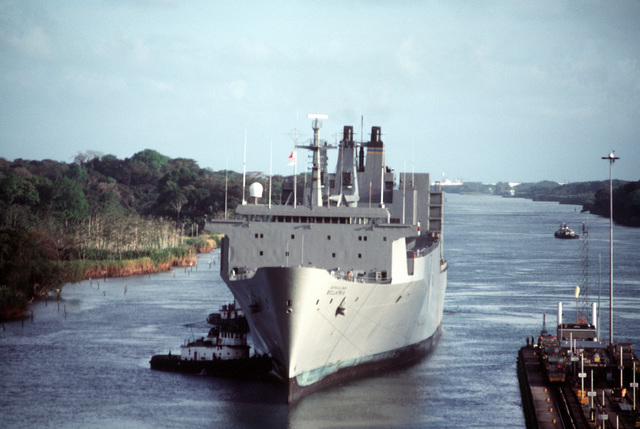 A port bow view of the Military Sealift Command Algol class vehicle transport ship USNS BELLATRIX (T-AKR 288) approaching the Gatun Locks on the Atlantic side of the Canal