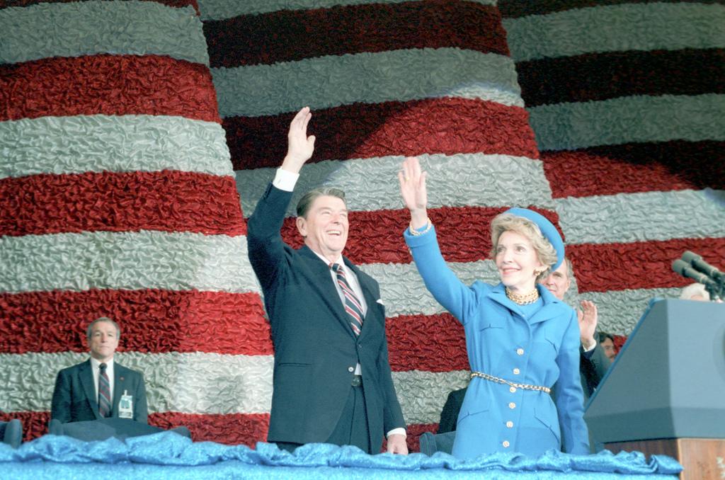 President Ronald Reagan and Nancy Reagan at the Inaugural Band Concert at Capital Centre in Washington, DC