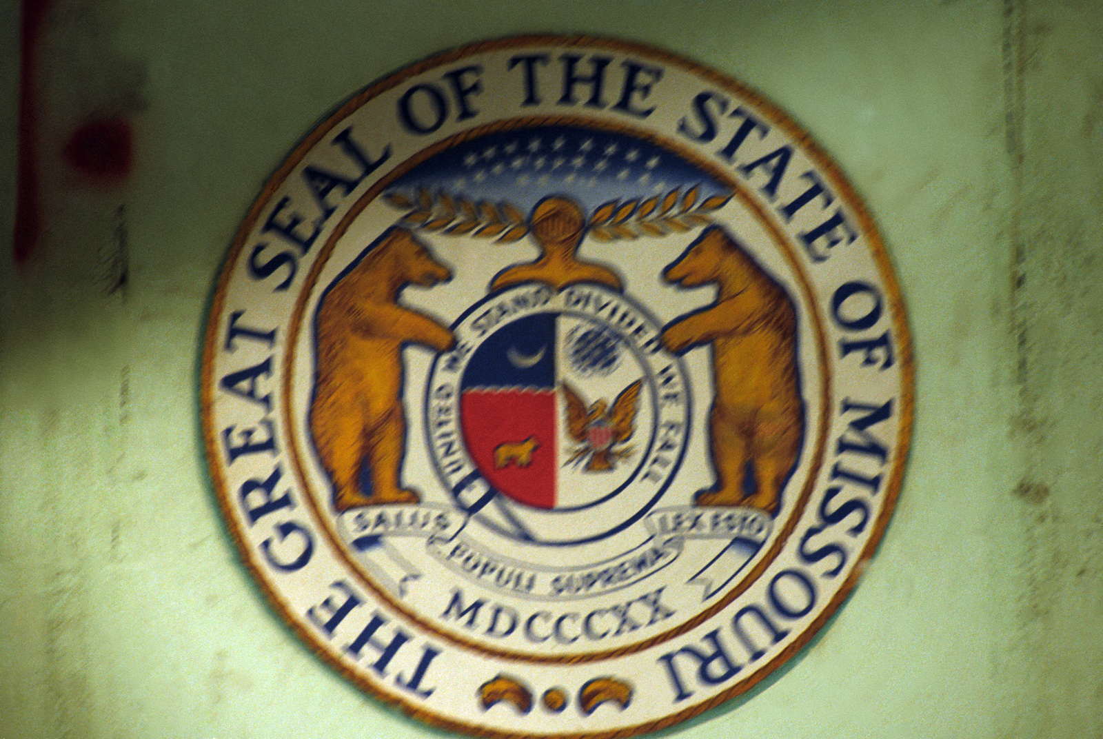 The seal of the state of Missouri aboard the battleship USS MISSOURI (BB 63). The ship is undergoing reactivation and modernization. (SUBSTANDARD)