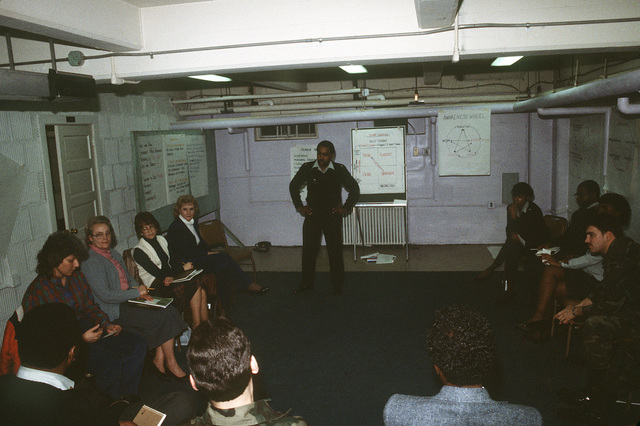 STAFF Sergeant (SSG) Joyner conducts a leadership management development course in the basement of Pulaski Hall
