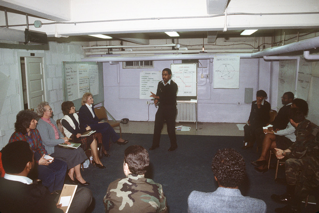 STAFF Sergeant (SSG) Joyner emphasizes a point while conducting a leadership management development course in the basement of Pulaski Hall