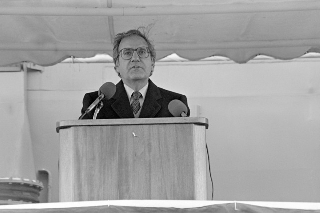 Senator George J. Mitchell (D-Maine) speaks during the commissioning ceremony for the the Oliver Hazard Perry class guided missile frigate USS HAWES (FFG 53) at Bath Iron Works Shipyard. Senator Mitchell is the principal speaker