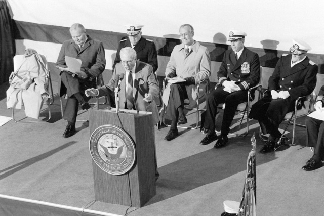 Supreme Court Justice Howard A. Patrick speaks during the commissioning ceremony for the dock landing ship USS WHIDBEY ISLAND (LSD 41)