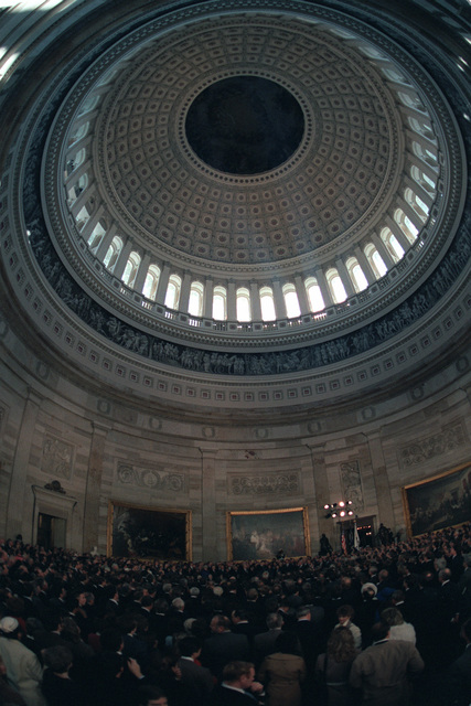 An overall view of the crowd attending the second inauguration of the President Ronald Reagan inside the rotunda of the Capitol