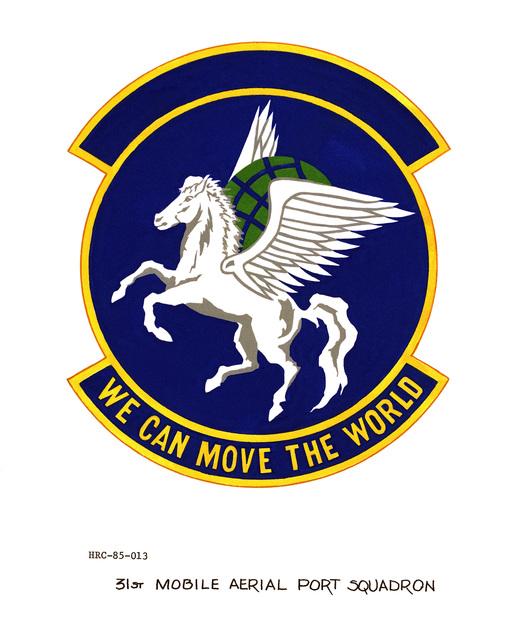 Approved unit emblem for: 31st Mobile Aerial Port Squadron