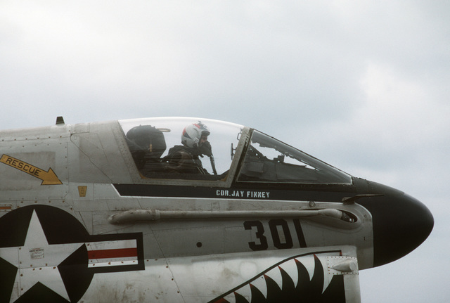 Right side view of the cockpit of an A-7 Corsair II aircraft. The Corsair has just landed aboard the aircraft carrier USS MIDWAY (CV 41)