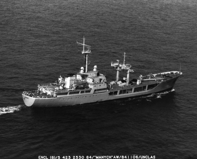 A starboard quarter view of the Soviet auxiliary replenishment ship MANYCH underway