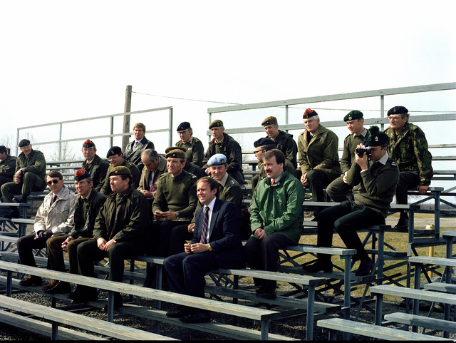 British officers attending a conference view a demonstration during their visit to the US Army Armor Center