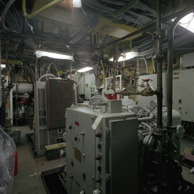 A view of auxiliary machinery room No. 3 aboard the guided missile frigate RODNEY M. DAVIS (FFG-60). The ship is 60 percent complete