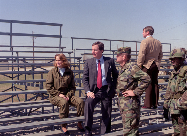 Senator Mitch McConnell, R-KY, tours the U.S. Army Armor Center along with Larry Cox, state director, Janet Mullins, senator's chief of staff, and BGEN Sullivan