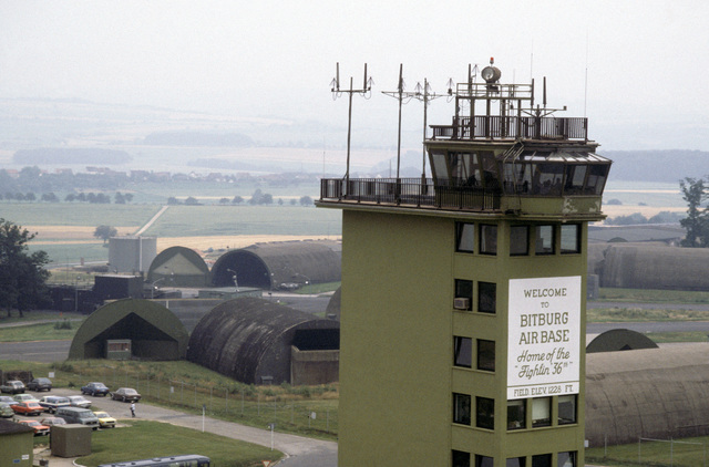 An aerial view of the air traffic control tower at Bitburg Air Base, location of the 36th Tactical Group, US Air Force