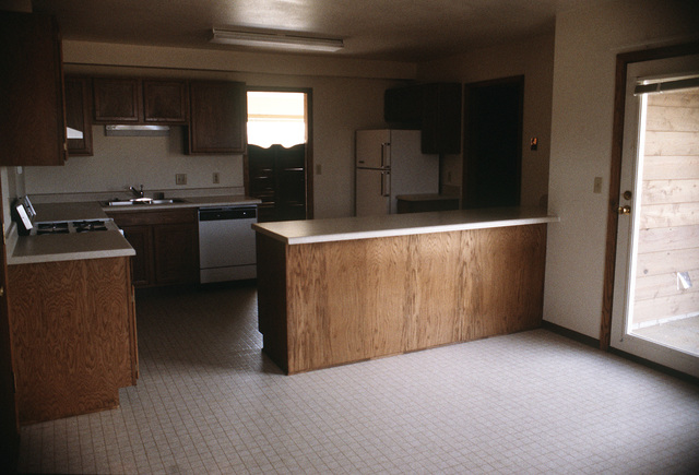 The kitchen area of a new housing facility at the Strategic Air Command's Strategic Training Range