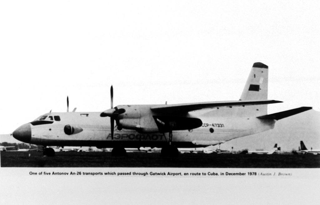 A left side view of a Soviet An-26 Curl transport aircraft