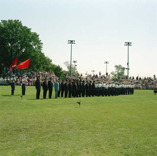 Lieutenant General (LGEN) Willard W. Scott, superintendent; Brigadier General (BGEN) Frederick A. Smith Jr., dean; BGEN Peter J. Boylan Jr., commandant, and the department heads of the US Military Academy, stand in review with the award-winning cadets at the Superintendent's Awards Review