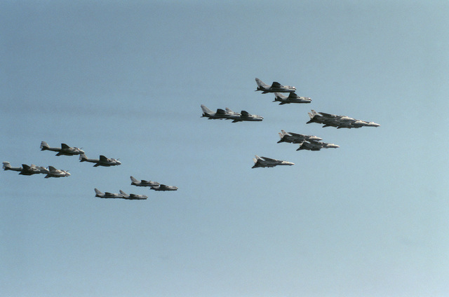 Carrier Air Wing 7 (CVW-7) aircraft assigned to the nuclear-powered aircraft carrier USS DWIGHT D. EISENHOWER (CVN 69) fly in formation during an air power demonstration. Included in the formation are A-6E Intruders, A-7E Corsair IIs, F-14A Tomcats and one EA-6B Prowler
