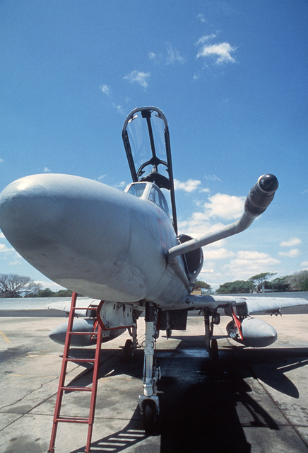 An A-4 Skyhawk aircraft equipped wih a refueling probe on the flightline during Exercise COPE CANINE '85