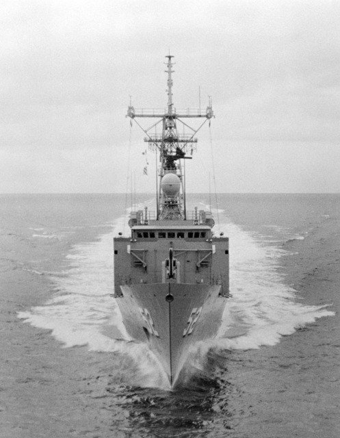Bow view of the Oliver Hazard Perry class guided missile frigate USS CARR (FFG 52) underway during builder's acceptance trials. (SUBSTANDARD)