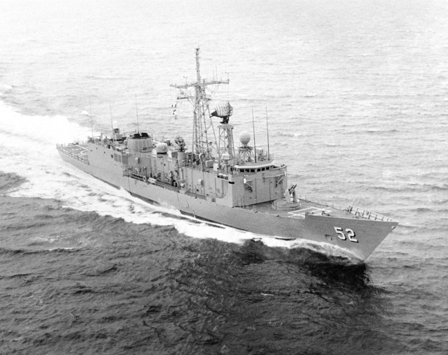 Elevated starboard bow view of the Oliver Hazard Perry class guided missile frigate USS CARR (FFG 52) underway during builder's acceptance trials. (SUBSTANDARD)