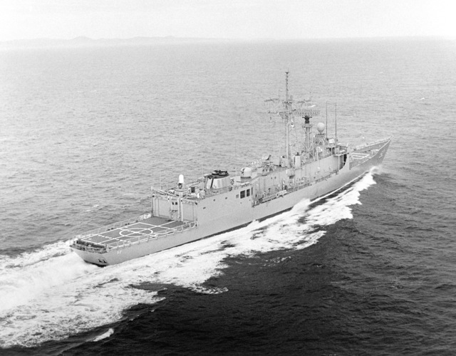 Elevated starboard quarter view of the Oliver Hazard Perry class guided missile frigate USS CARR (FFG 52) underway during builder's acceptance trials. (SUBSTANDARD)
