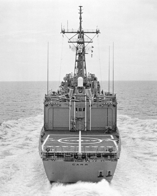 Elevated stern view of the Oliver Hazard Perry class guided missile frigate USS CARR (FFG 52) underway during builder's acceptance trials. (SUBSTANDARD)