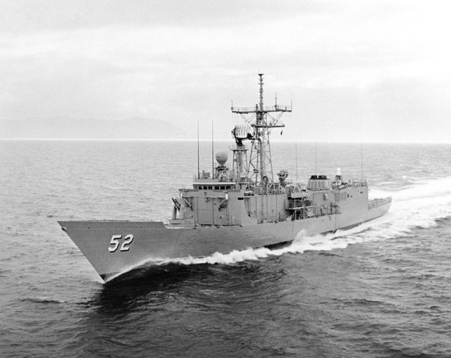 Port bow view of the Oliver Hazard Perry class guided missile frigate USS CARR (FFG 52) underway during builder's acceptance trials. (SUBSTANDARD)