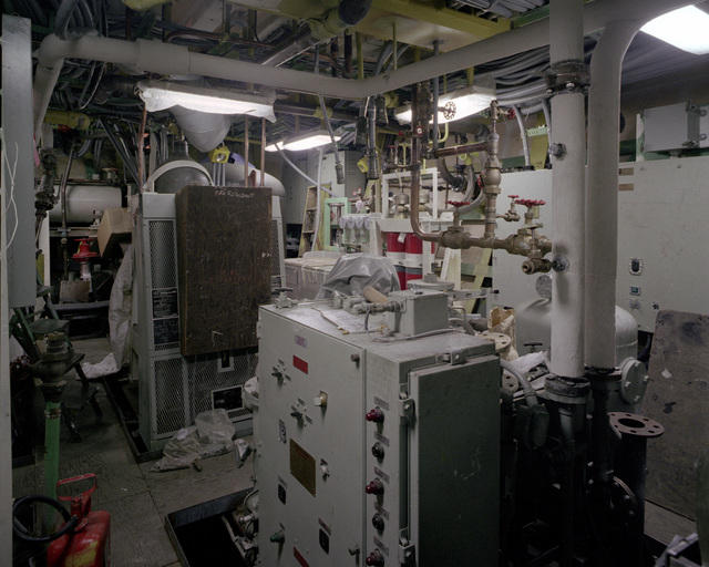A view of auxiliary machinery room No. 3 aboard the guided missile frigate RODNEY M. DAVIS (FFG-60). The ship is 70 percent complete