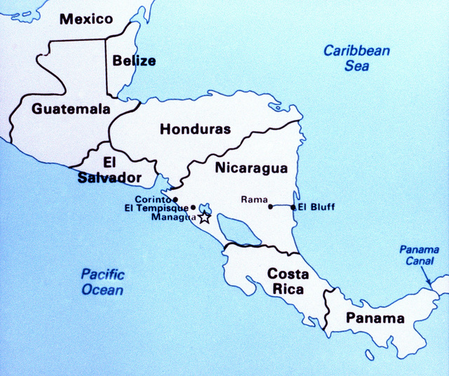 A map of Central America showing the locations of Nicaraguan military bases receiving Soviet military equipment. From Soviet Military Power 1985