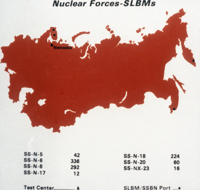 A map of the Soviet Union showing the home ports of nuclear-powered ballistic missile submarines and submarine launched ballistic missiles. From Soviet Military Power 1985