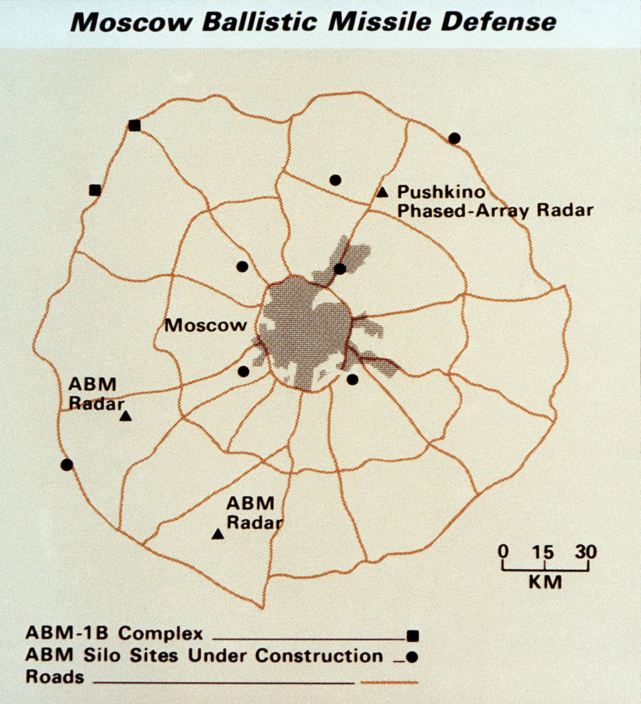 A map showing the ballistic missile defense system surrounding Moscow. From Soviet Military Power 1985