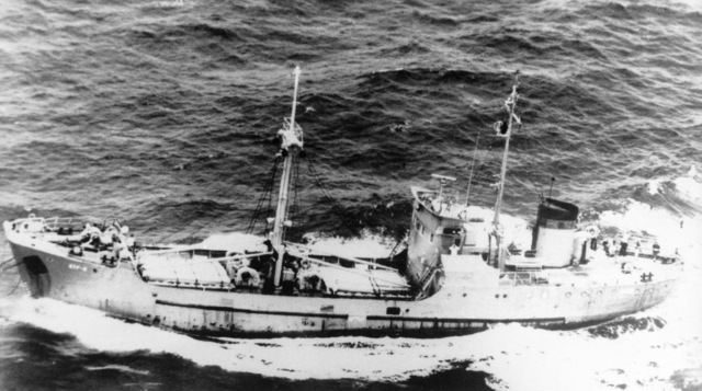Aerial port beam view of a Soviet Khabarov class transport and cargo ship underway